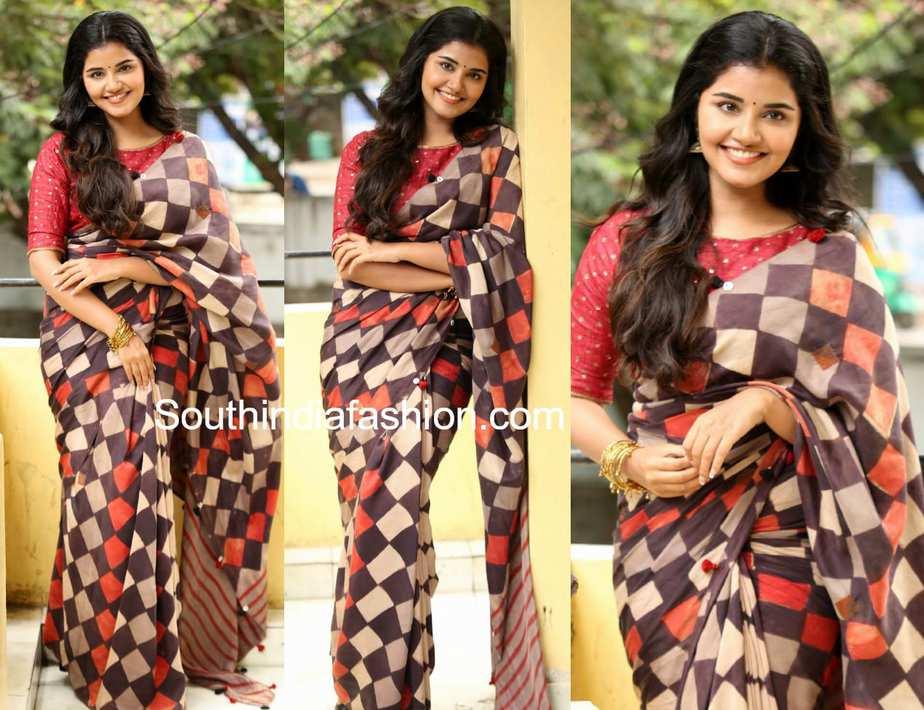 anupama parameswaran checks saree