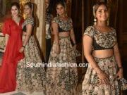 anushpala kamineni lehenga in shriya bhupal wedding bash