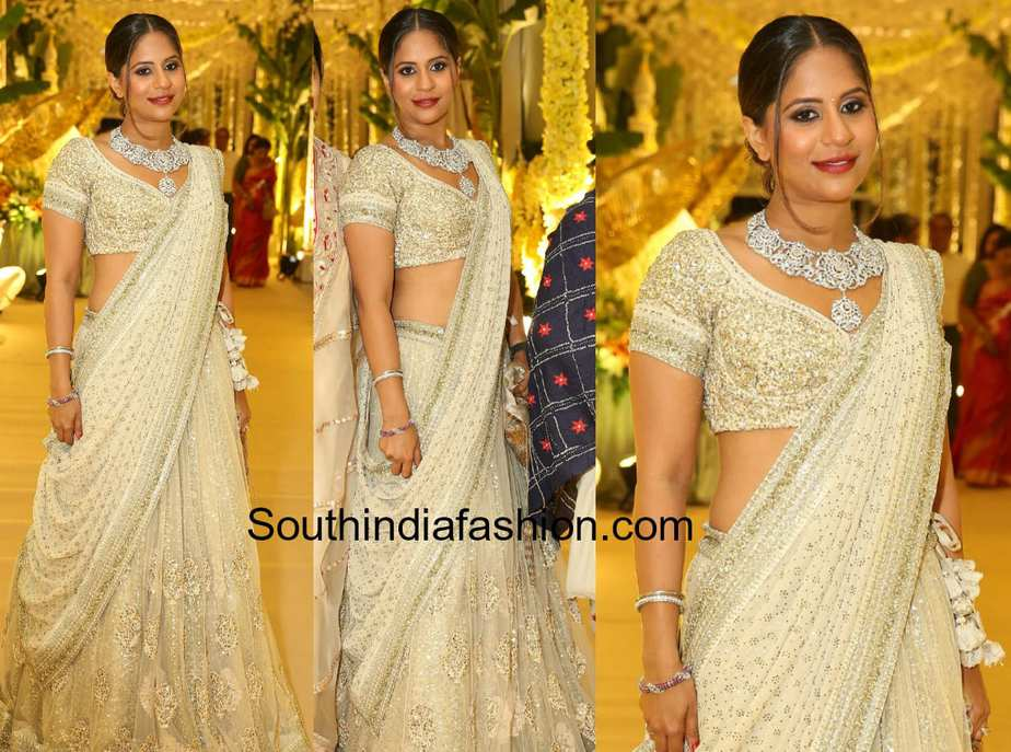 anushpala-kamineni in sabyasachi lehenga at anindith reddy pre wedding celebrations