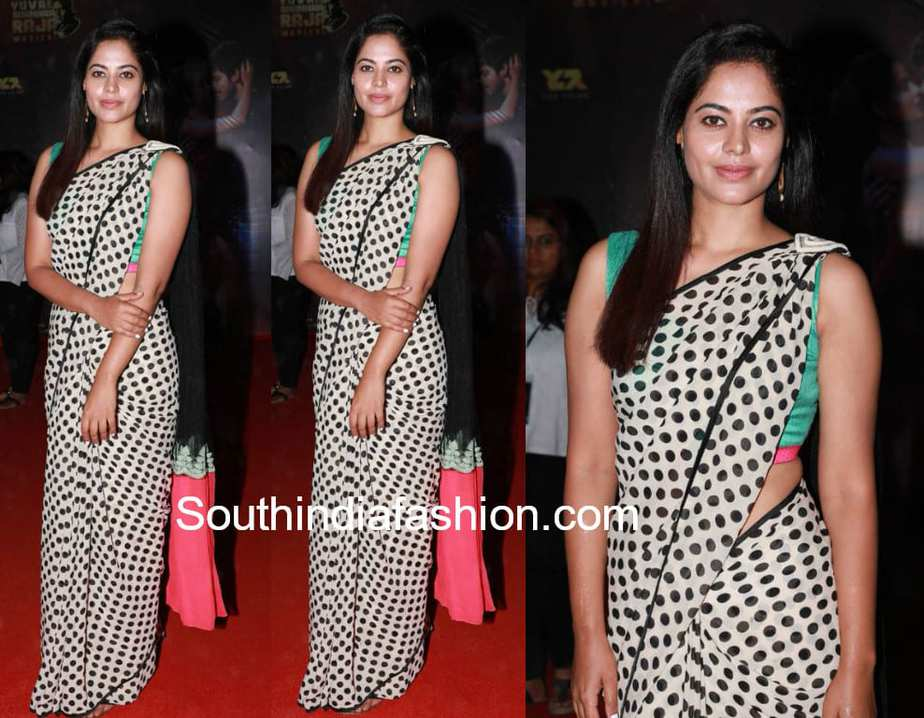 bindu madhavi polka dot saree Pyaar Prema Kaadhal audio launch