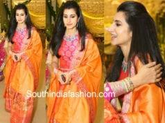 nara brahmani silk lehenga at anindith shriya bhupal pre wedding