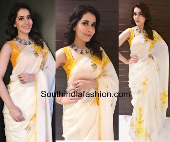 rashi khanna Plain Saree Look