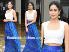 janhvi kapoor blue skirt dhadak promotions