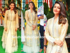 kajal aggarwal in anita dongre dress at her new movie opening
