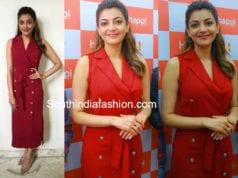 kajal aggarwal red dress happi mobiles launch