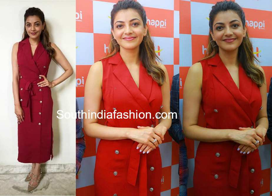 kajal aggarwal red dress happi mobiles launch