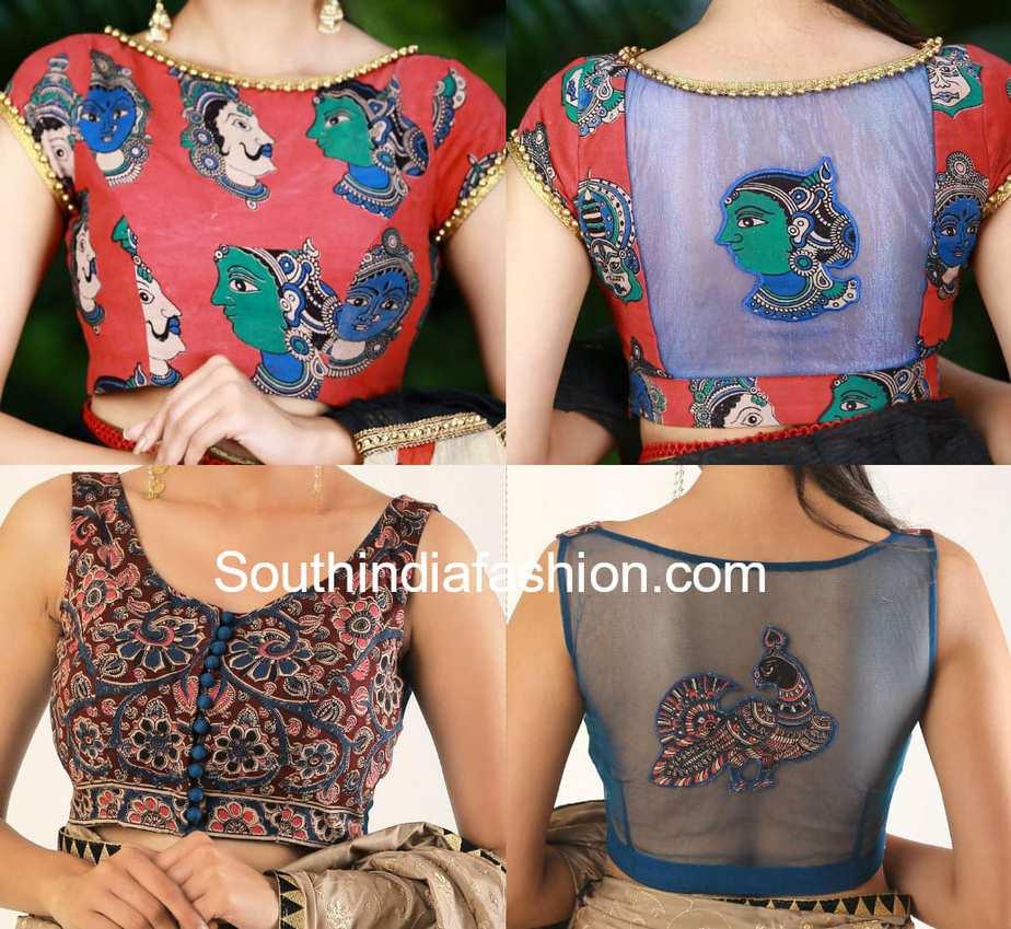 kalamkari blouse designs with net back