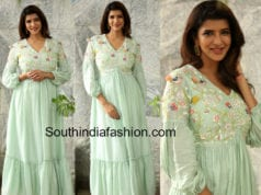 lakshmi manchu mint green gown for wife or ram promotions