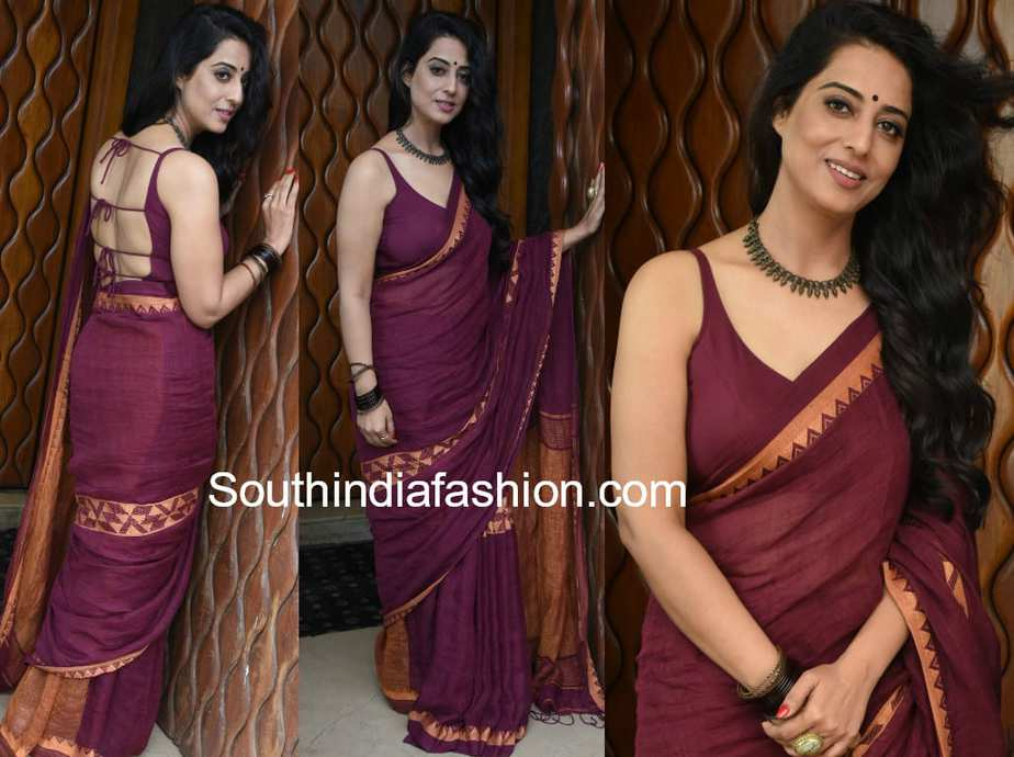 mahie gill cotton saree backless blouse