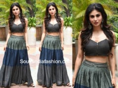 mouni roy long skirt crop top gold movie promotions