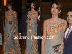 Natasha Poonawalla grey saree manish malhotra