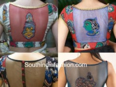 kalamkari blouse designs with net back
