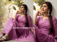 niharika konidela lavender dress happy wedding promotions