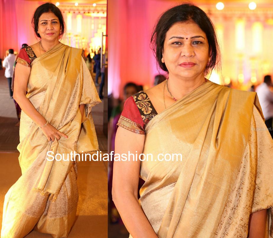 nirmnirmala manchu gold silk sareeala manchu gold silk saree