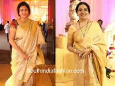 celebs in gold silk sarees