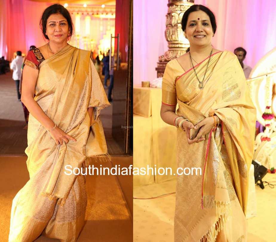 celebs in gold silk sarees