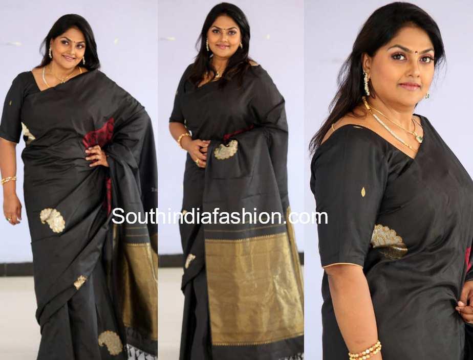nirosha black saree