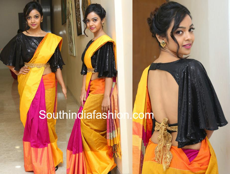 7298c0a3efcbd Nithya Shetty s Saree Look! – South India Fashion