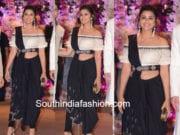 parineeti chopra black saree pants akash ambani shloka engagement