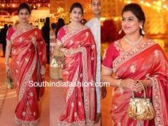 pinky reddy in red silk saree at shriya bhupal anindith wedding