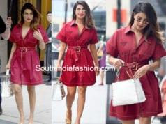 priyanka chopra red shirt dress