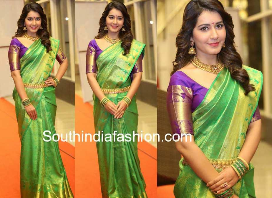raashi khanna green pattu saree at srinivasa kalyanam audio launch