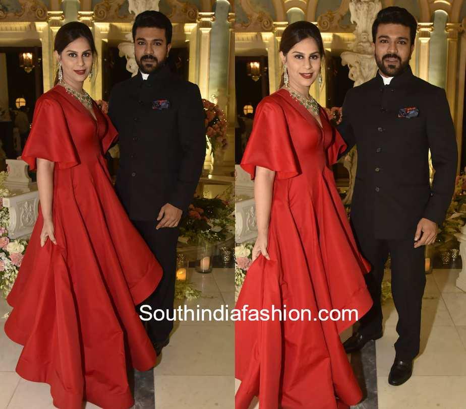 ram charan upasana at shriya bhupal wedding bash