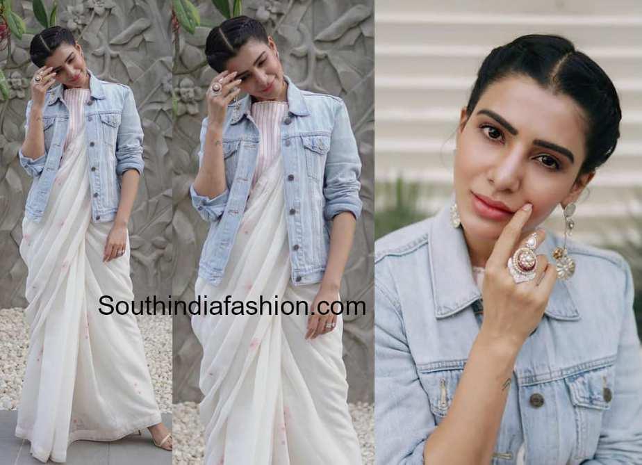samantha akkineni anavila saree with denim jacket