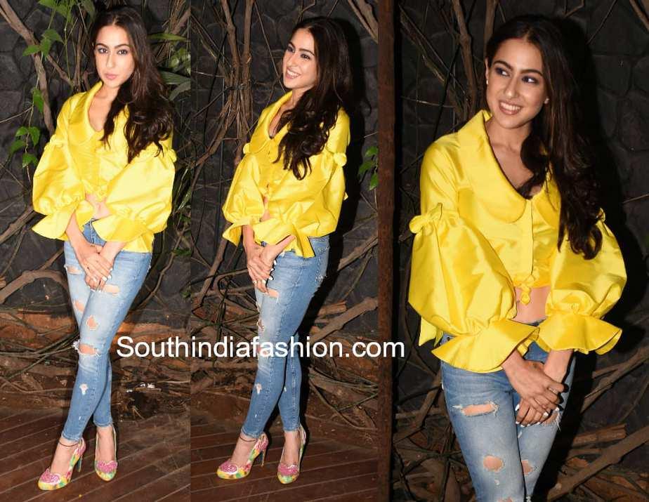 sara ali khan jeans yellow top