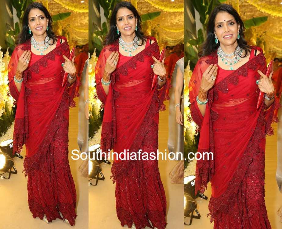 shalini bhupal red saree