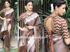 shilpa reddy in banarasi silk saree at anirudh reddy wedding
