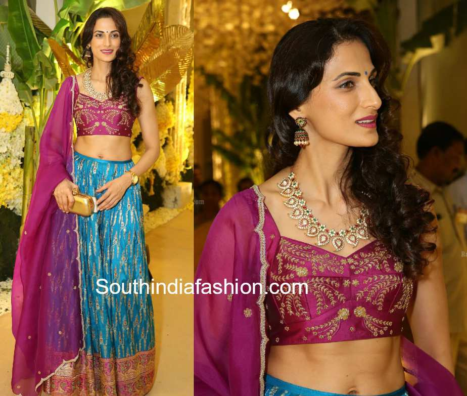 shilpa reddy blue purple lehenga anindith reddy wedding