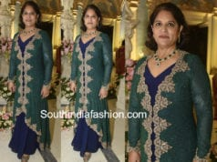 shobana kamineni peacock blue dress at shriya bhupal wedding bash