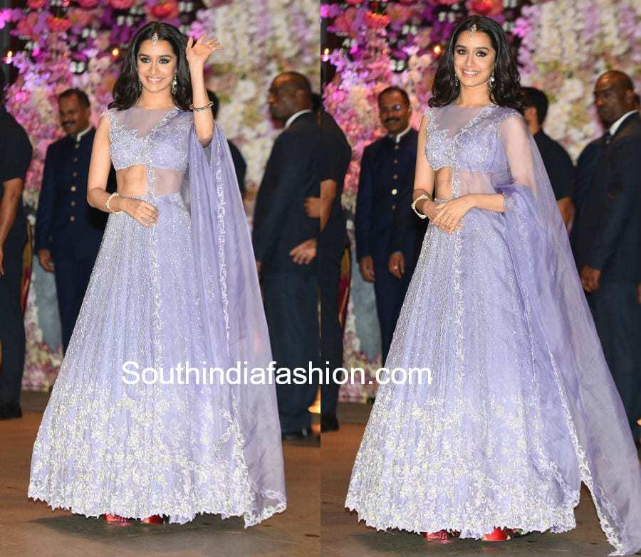 shraddha kapoor lavender lehenga akash ambani engagement