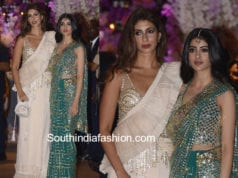 shweta nanda bachchan and navya nanda in abu jani sarees at akash ambani engagement