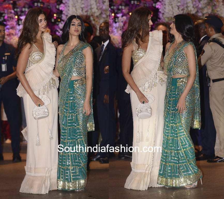 shweta nanda bachchan and navya nanda in abu jani sarees at akash ambani engagement