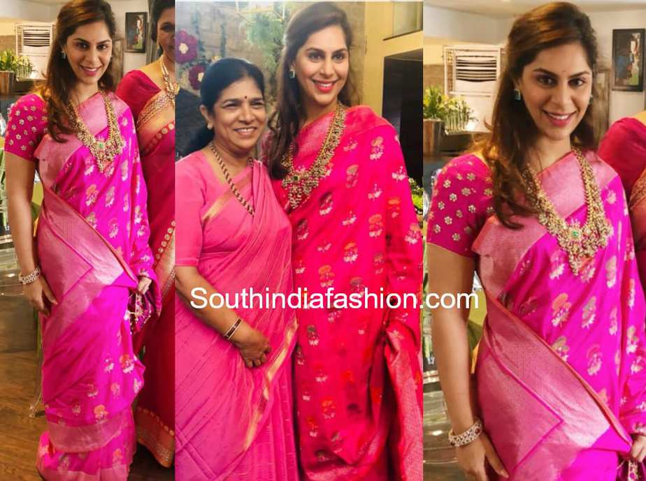 upasana kamineni konidela in pink banarasi silk saree