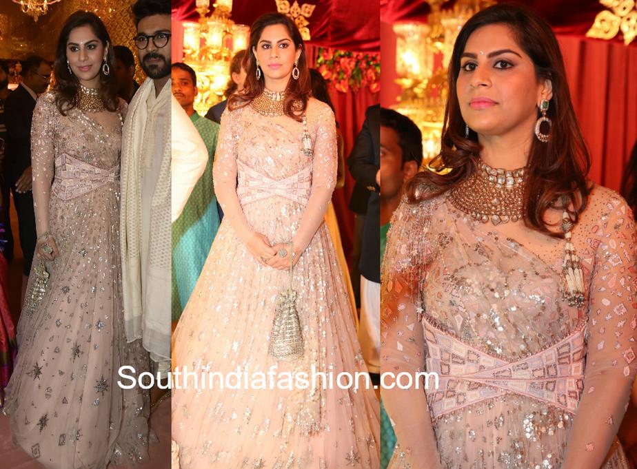 upasana kamineni in traun tahiliani gown in shriya bhupal wedding