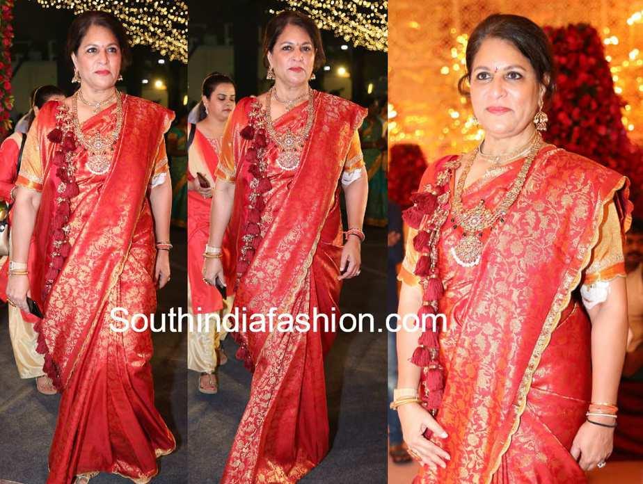 shobana kamineni kanjeevaram saree in shriya bhupal wedding
