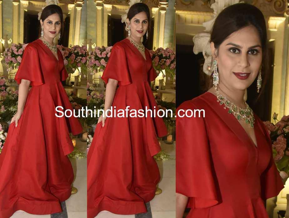 upasana kamineni red gown at shriya bhupal wedding bash