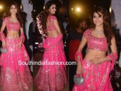 urvashi rautela in pink abu jani sandeep khosla lehenga at poorna patel wedding reception