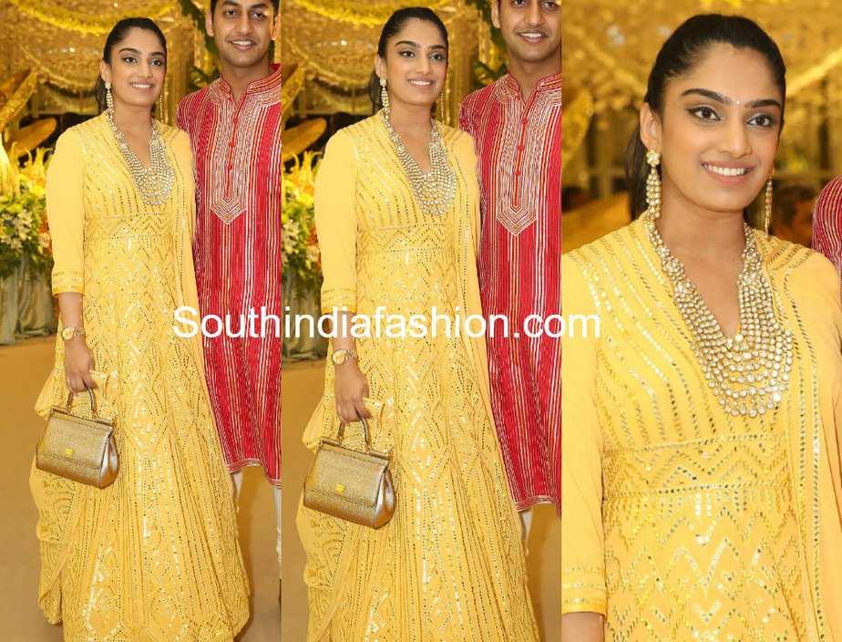 veena reddy yellow anarklai shriya bhupal wedding