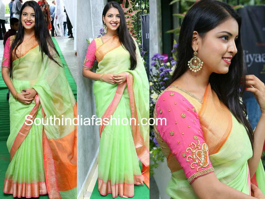 yashu mashetty green saree hiya laasya jewellery store launch