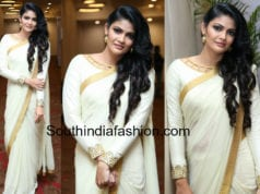 kalpika ganesh white saree siima curtain raiser