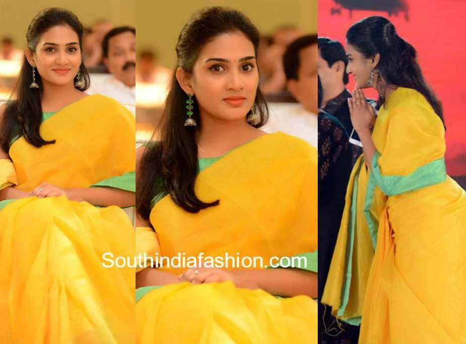 aditi ravi yellow saree vishwaroopam 2 press meet