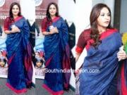 aishwarya dhanush blue handloom saree