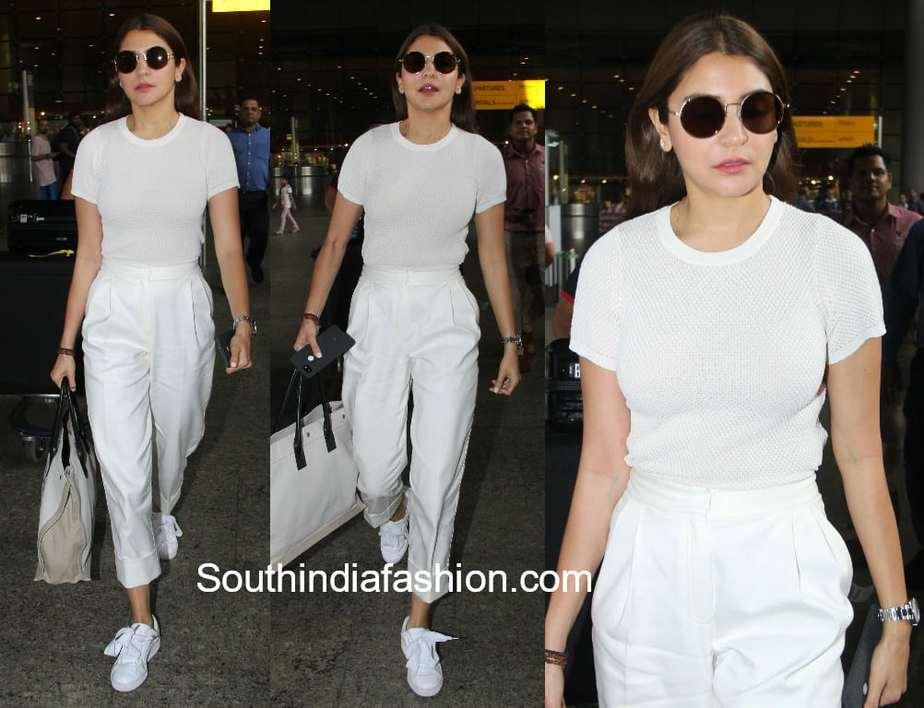 anushka sharma airport all white look