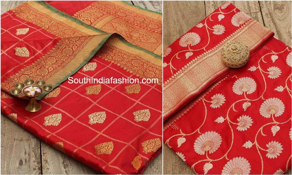 red banaras silk sarees