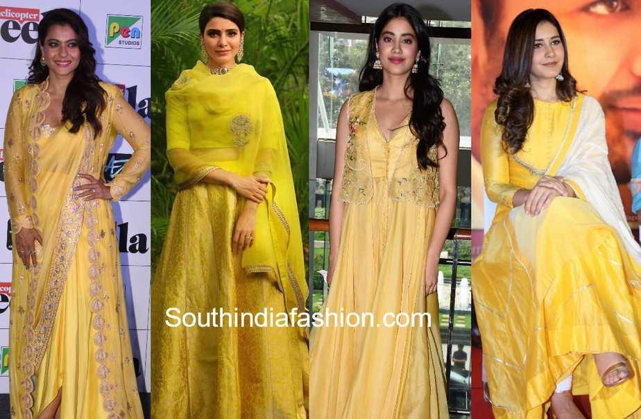 celebrities in yellow ethnic wear