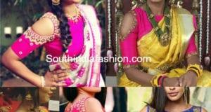 cold shoulder blouse for silk sarees